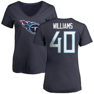 Jordan Williams Tennessee Titans Women's Navy Any Name & Number Logo Slim Fit T-Shirt -