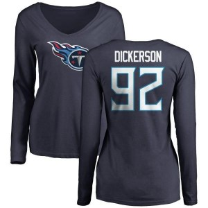Matt Dickerson Tennessee Titans Women's Navy Pro Line Name & Number Logo Slim Fit Long Sleeve T-Shirt -