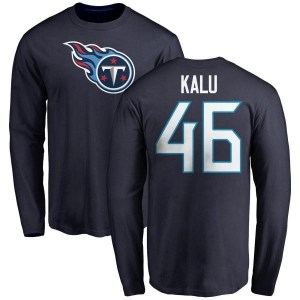 Joshua Kalu Tennessee Titans Youth Navy Any Name & Number Logo Long Sleeve T-Shirt -