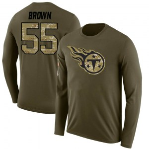 Jayon Brown Tennessee Titans Men's Legend Brown Salute to Service Sideline Olive Long Sleeve T-Shirt