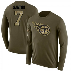 Cairo Santos Tennessee Titans Men's Legend Olive Salute to Service Sideline Long Sleeve T-Shirt