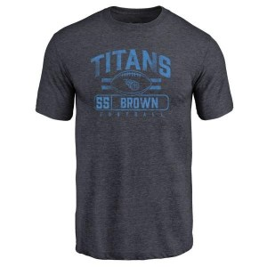 Jayon Brown Tennessee Titans Men's Brown Pro Line by Branded Flanker Tri-Blend T-Shirt - Navy