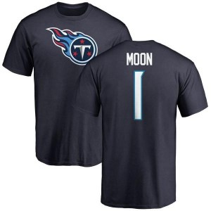 Warren Moon Tennessee Titans Youth Navy Pro Line Any Name & Number Logo T-Shirt -