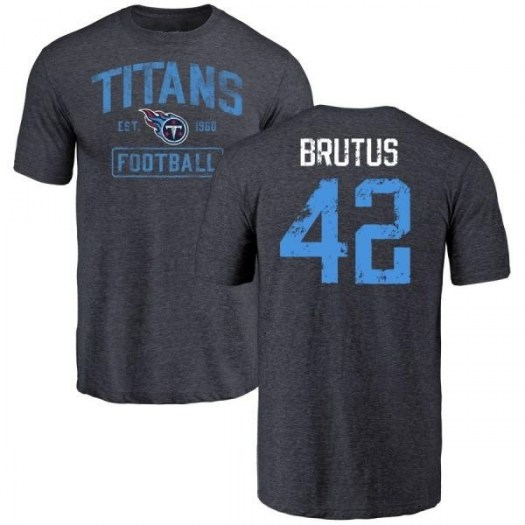 Lamarcus Brutus Tennessee Titans Youth Navy Distressed Name & Number Tri-Blend T-Shirt