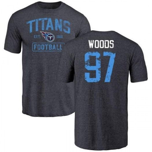 Antwaun Woods Tennessee Titans Youth Navy Distressed Name & Number Tri-Blend T-Shirt