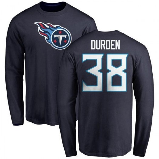 Kenneth Durden Tennessee Titans Men's Navy Any Name & Number Logo Long Sleeve T-Shirt -