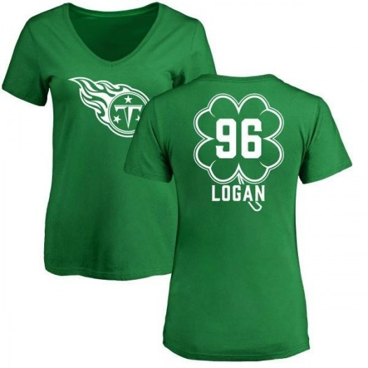 Bennie Logan Tennessee Titans Women's Green St. Patrick's Day Name & Number V-Neck T-Shirt