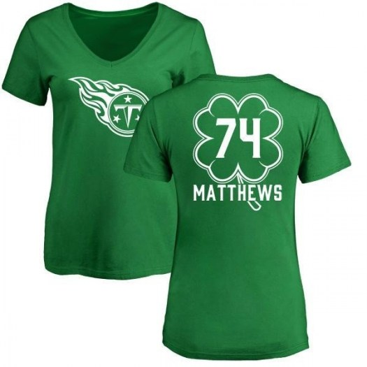 Bruce Matthews Tennessee Titans Women's Green St. Patrick's Day Name & Number V-Neck T-Shirt