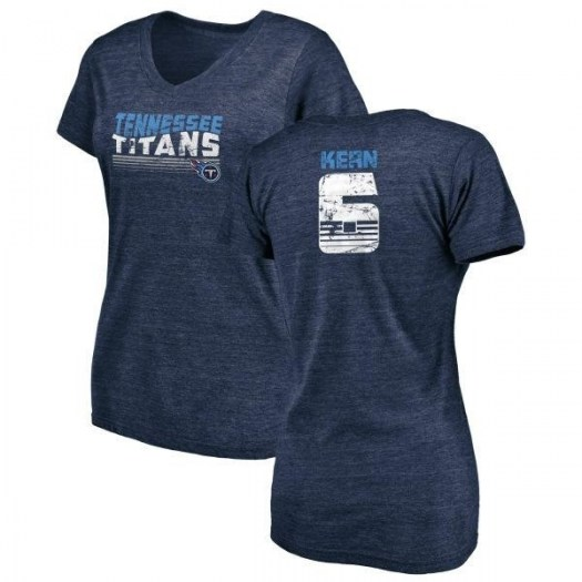 Brett Kern Tennessee Titans Women's Navy by Retro Tri-Blend V-Neck T-Shirt -