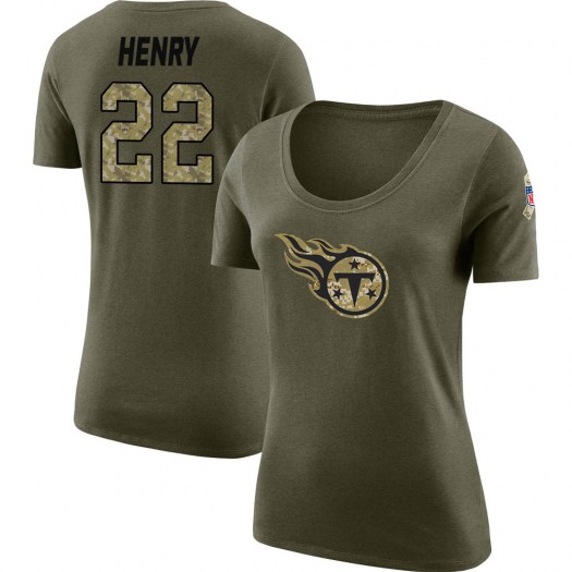 Derrick Henry Tennessee Titans Women's Legend Olive Salute to Service Scoop Neck T-Shirt