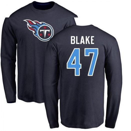 Antwon Blake Tennessee Titans Men's Navy Pro Line Any Name & Number Logo Long Sleeve T-Shirt -