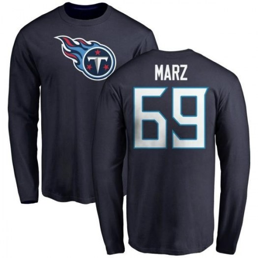 Tyler Marz Tennessee Titans Men's Navy Pro Line Any Name & Number Logo Long Sleeve T-Shirt -
